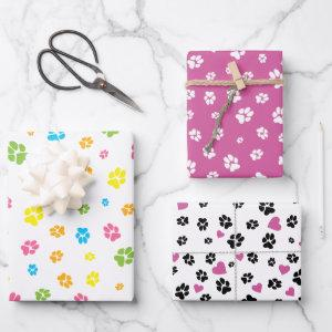 Cute colorful pet paw prints and hearts pattern wrapping paper sheets