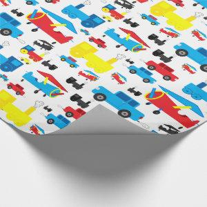 Cute Colorful Planes, Trains and Cars Collage Wrapping Paper