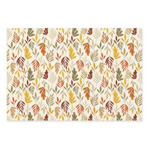 Cute Cozy Fall Leaves Pattern Wrapping Paper Sheets