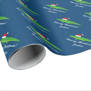 Cute crocodile alligator Christmas wrapping paper
