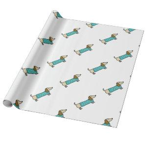 Cute dachshund in mint blue wrapping paper