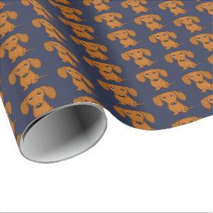 Cute Dachshund Pattern | Red Wiener Dogs Wrapping Paper