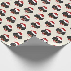 Cute Dachshund with a Santa Hat Pattern Christmas Wrapping Paper