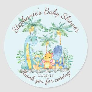 Cute Dinosaur Boys Baby Shower Favor Sticker