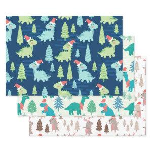 Cute Dinosaur Holiday Christmas Wrapping Paper Sheets