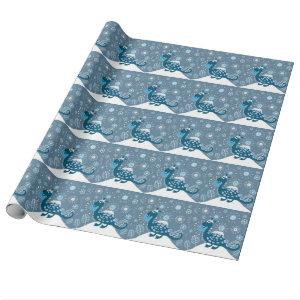 Cute Dinosaur Playing in the Snow! Wrapping Paper