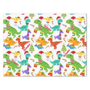 Cute Dinosaurs Christmas Personalized Tissue Paper