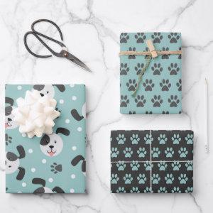 Cute Dog and Paw Prints Wrapping Paper Set