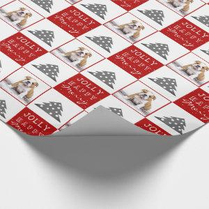 Cute Dog Puppy Pet Typography Christmas Tree Photo Wrapping Paper