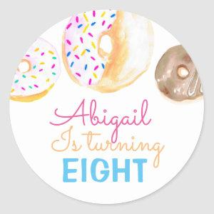 Cute donut kid birthday party sticker