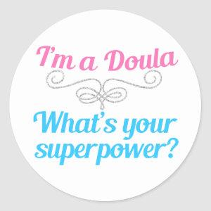 Cute Doula Superhero Classic Round Sticker