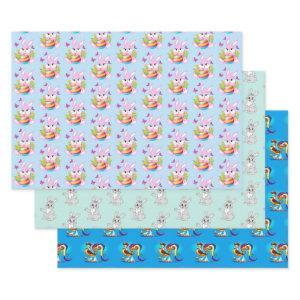 Cute Easter Patterns Wrapping Paper Sheet Set