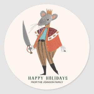 Cute Ecru Christmas Holiday Nutcracker Mouse King Classic Round Sticker