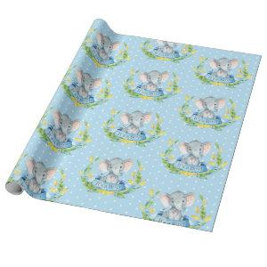 Cute Elephant Baby Boy Blue and Gray Wrapping Paper