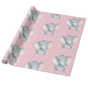 Cute Elephant Baby Girl Pink and Gray Wrapping Paper