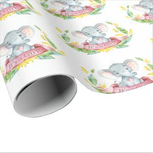 Cute Elephant Baby Girl Pink and Gray
