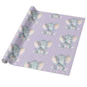 Cute Elephant Baby Girl Purple and Gray Wrapping Paper