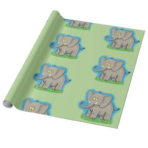Cute elephant cartoon green pattern wrapping paper
