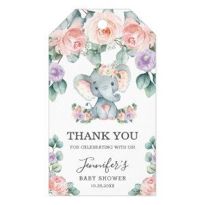 Cute Elephant Floral Baby Shower Thank You Favor Gift Tags
