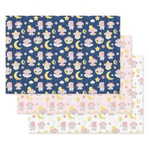 Cute Elephant Moon and Stars on Navy, Pink, White Wrapping Paper Sheets