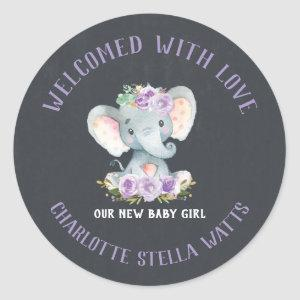 Cute Elephant New Baby Girl Announcement Favor Classic Round Sticker