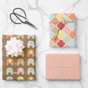 Cute Elephants Pattern Brown Pink Baby Shower Wrapping Paper Sheets