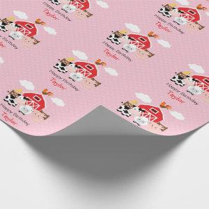 Cute Farm Animals (Pink) Birthday Personalized Wrapping Paper