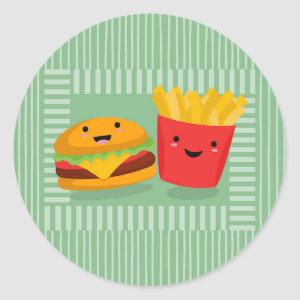 Cute Fast Food Hamburger Fries Classic Round Sticker