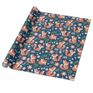 Cute Fox and Floral Wrapping Paper
