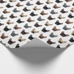 Cute French Bulldog Faces Pattern Wrapping Paper