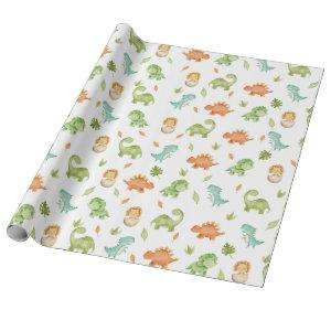 Cute Friendly Dinosaurs T-Rex Green Orange Blue  Wrapping Paper