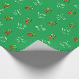 Cute frogs with love wrapping paper