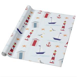 Cute fun tropical beach lighthouses boats pattern wrapping paper