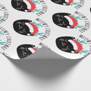 Cute Funny Black Cat Pattern Meowy Christmas Wrapping Paper