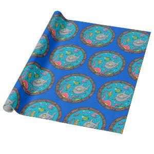 Cute funny sea creatures cartoon illustration wrapping paper