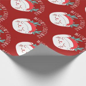 Cute Funny White Cat Pattern Meowy Christmas Wrapping Paper