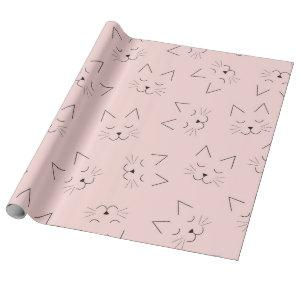 Cute Girly Black Kitty Cat Face Pink Pattern Wrapping Paper