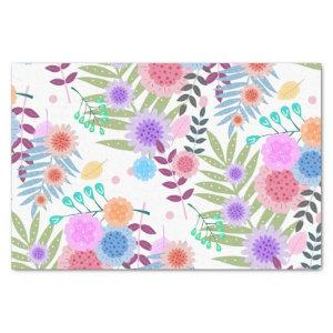 Cute Girly Pastel Flowers and Leaves Pattern Tissue Paper