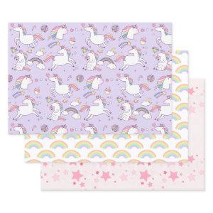 Cute Girly Unicorn Rainbow Stars Custom Wrapping Paper Sheets