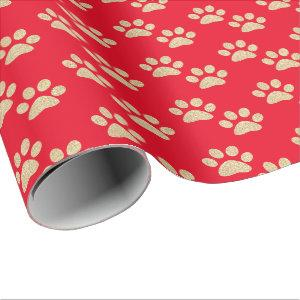 Cute Gold Glitter Paw Prints Pet Lovers Red Wrapping Paper