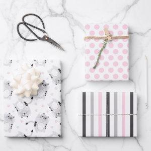 Cute Gray Cats Wrapping Paper Set of 3