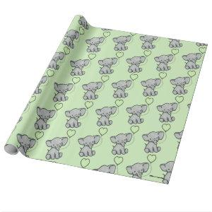 Cute Green Baby Elephant Pattern Wrapping Paper