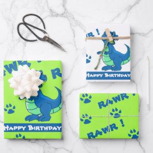 Cute Green Blue Dinosaur Paw Rawr Gift Wrapping Paper Sheets