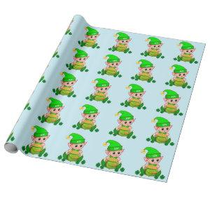 Cute green elf & a pot of gold on light blue wrapping paper