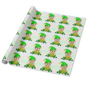 Cute green elf & a pot of gold on pastel colors wrapping paper