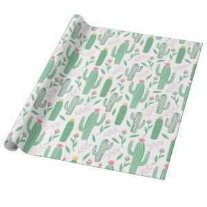 Cute Green, Pink, and Yellow Cactus Baby Shower Wrapping Paper