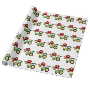 Cute green tractor and red barn wrapping paper