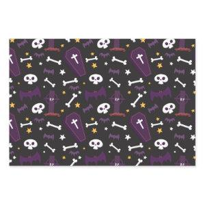 Cute Halloween Black Bat Skull Cemetery Pattern Wrapping Paper Sheets