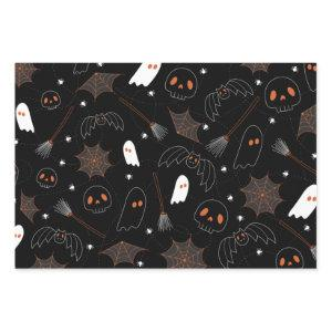 Cute Halloween Ghost Skull Bat Spider Web Pattern Wrapping Paper Sheets