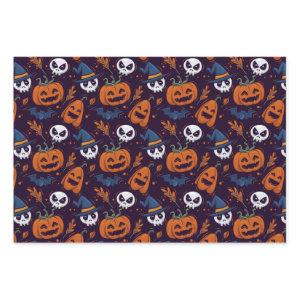 Cute Halloween Pumpkin jack o lantern Witch Hat Wrapping Paper Sheets